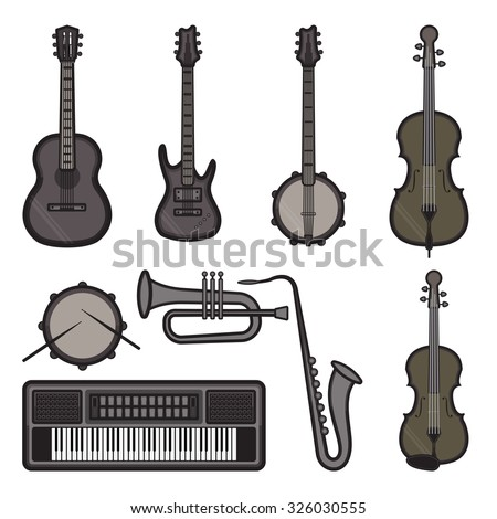 Music instruments icons set. Musical instruments for jazz and blues.Vector illustration.