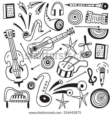 music instruments , jazz - doodles set - stock vector