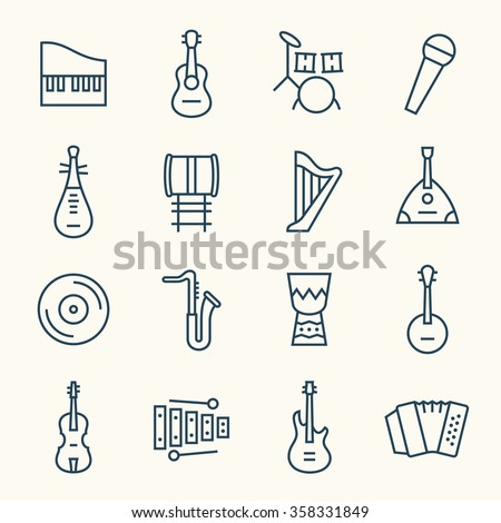 Music instruments line icon set - stock vector
