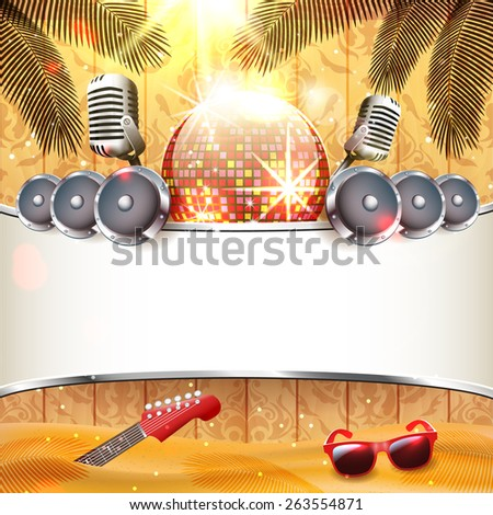 Music instruments on beach with wooden background - Vector with place for your text - stock vector