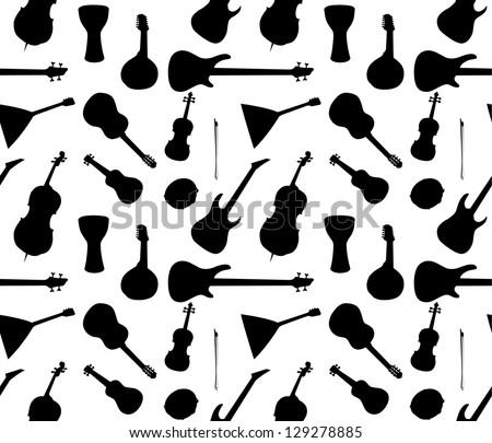 music instruments pattern - stock vector