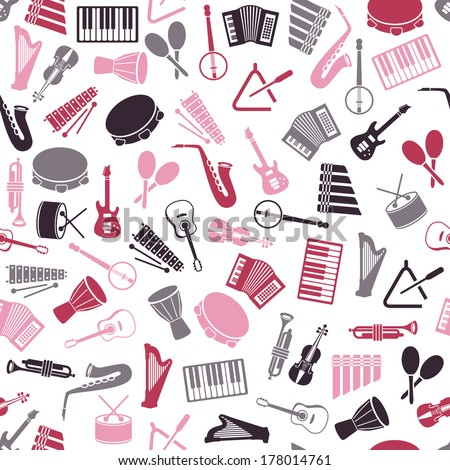 music instruments seamless pattern - stock vector