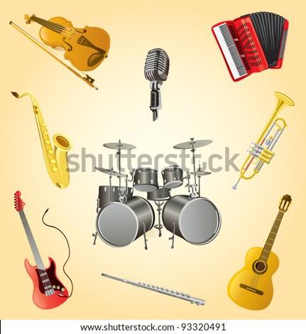 Music instruments set cartoon vector illustration - stock vector