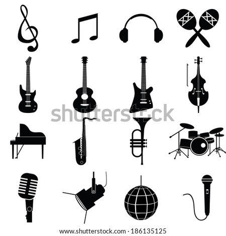 music instruments vector include guitar, cello, piano, drums  - stock vector
