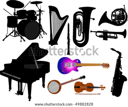 music instruments vector silhouettes - stock vector