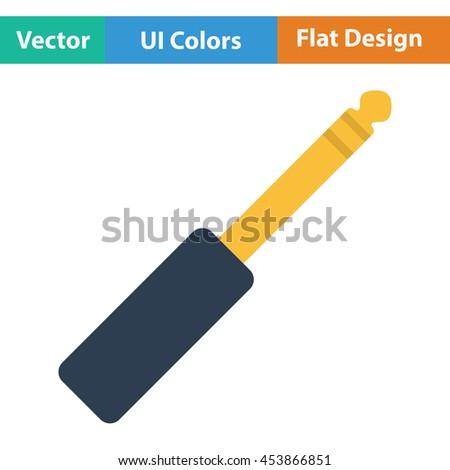 Music jack plug-in icon. Flat color design. Vector illustration. - stock vector
