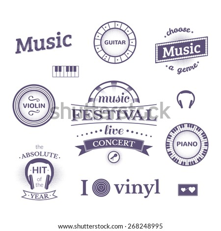 Music labels and logos illustrations, vector typography set - stock vector