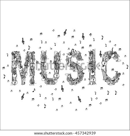Music lettering with Music Instruments and notes.  - stock vector