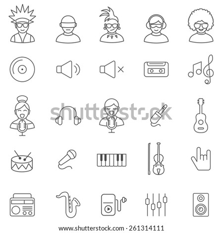 Music  line icons set.Vector - stock vector