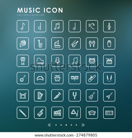 music line icons with blur background - stock vector