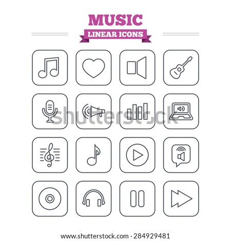 Music linear icons set. Musical note, acoustic guitar and microphone. Notebook, dynamic and headphones symbols. Thin outline signs. Flat square vector - stock vector