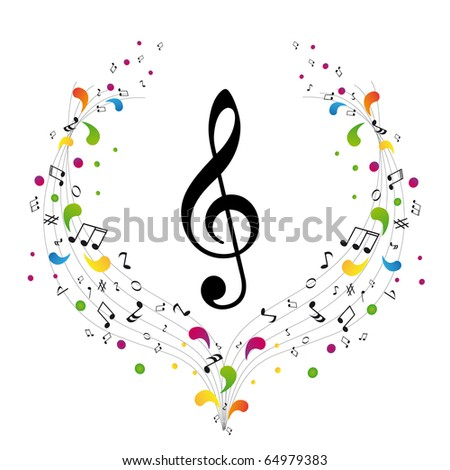 Music logo - treble clef and notes - stock vector