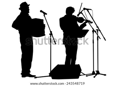 Music man whit accordion on white background - stock vector