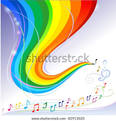 Music Melody - Abstract Rainbow Pencil Series - stock vector