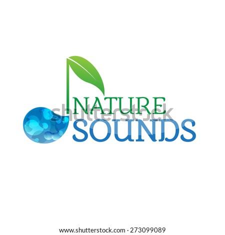 Music nature sounds logo logotype vector icon - stock vector