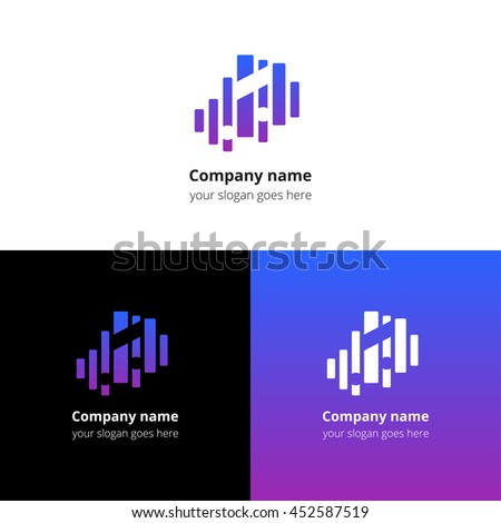 Music note and equalizer beat background flat logo icon vector template. Abstract symbol and button with blue-violet gradient for music service or company. - stock vector