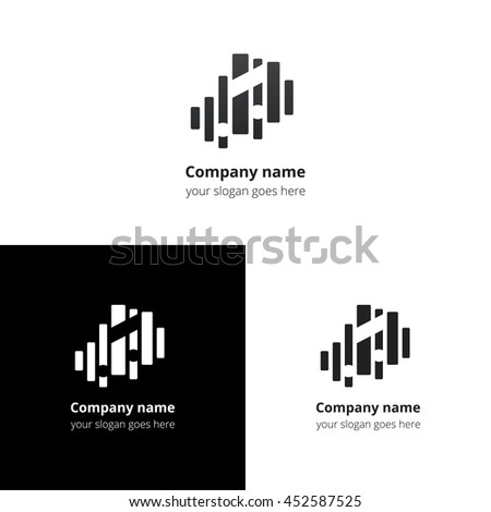 Music note and equalizer beat background flat logo icon vector template. Abstract symbol and button with black-grey gradient for music service or company. - stock vector