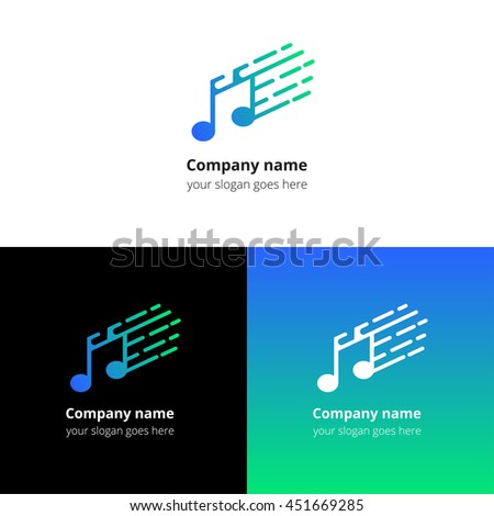 Music note and fast motion beat flat logo icon vector template. Abstract symbol and button with blue-green gradient for music service or company. - stock vector