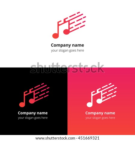 Music note and fast motion beat flat logo icon vector template. Abstract symbol and button with red-pink gradient for music service or company. - stock vector