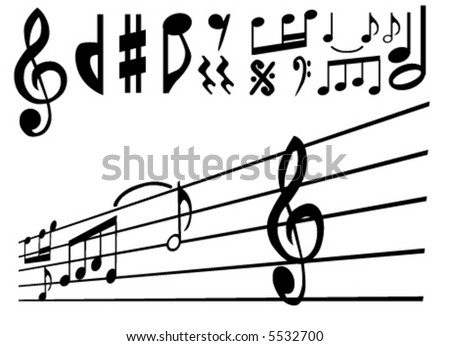 music note and sign vector