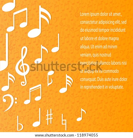 music note background design - stock vector