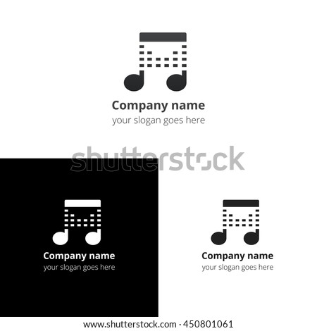 Music Note Beat Greyblack Gradient Blackwhite Stock Vector