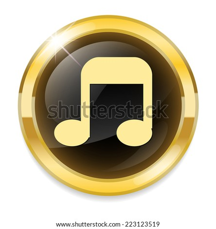music note button - stock vector