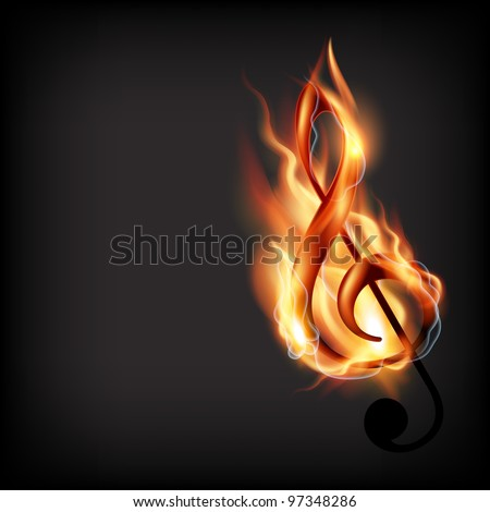 music note design in burning style
