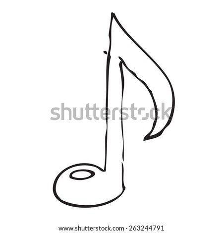 Music note doodle - stock vector