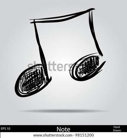 Music Note doodle  cartoon sketch vector illustration - stock vector