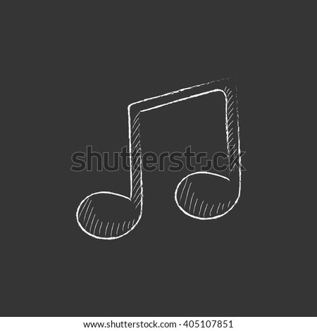 Music note. Drawn in chalk icon. - stock vector