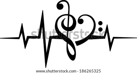 Music Note Heart - Treble & Bass Clef - Pulse - Frequency - Vector - stock vector
