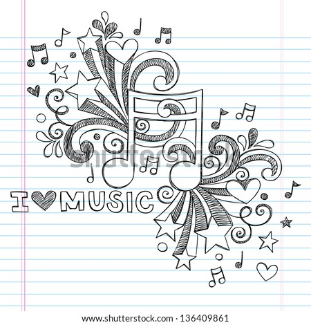 Music Note I Love Music Back to School Sketchy Notebook Doodles- Hand-Drawn Illustration Design Elements on Lined Sketchbook Paper Background - stock vector