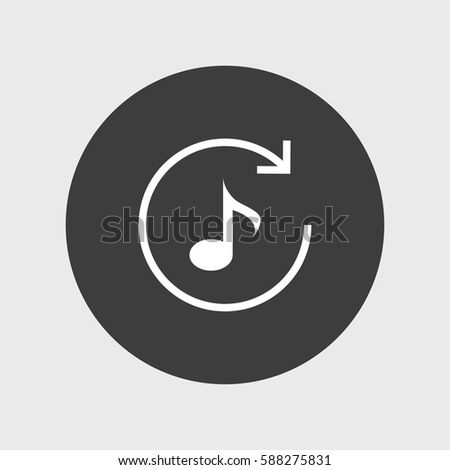 Music Note Icon Simple Repeat Sign Stock Vector 588275831 Shutterstock
