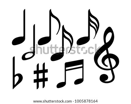 Music Note Icons Vector Set Black Stock Vector 1005878164 Shutterstock