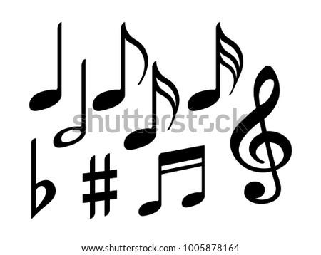 Music Note Icons Vector Set Black Stock Vector 1005878164 Shutterstock