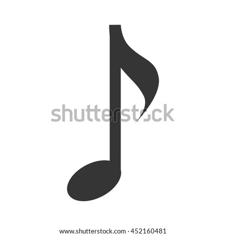 Music note in black and white , vector illustration flat icon.