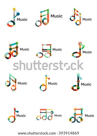 Music note logo set, flat thin line geometric icons isolated on white - stock vector