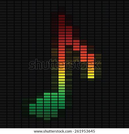 Music note on equalizer. Vector music illustration on black background. - stock vector