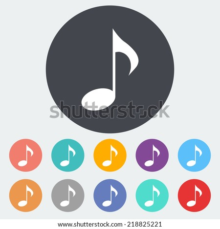 Music note symbols. Single flat icon on the circle. Vector illustration. - stock vector