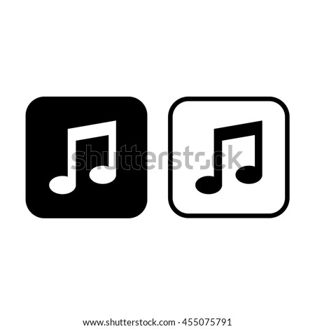 Music note vector icon. Black and white - stock vector