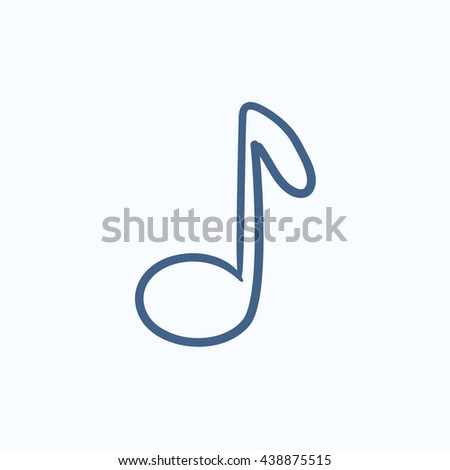 Music note vector sketch icon isolated on background. Hand drawn Music note icon. Music note sketch icon for infographic, website or app. - stock vector