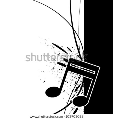 music note with ink splatter - stock vector