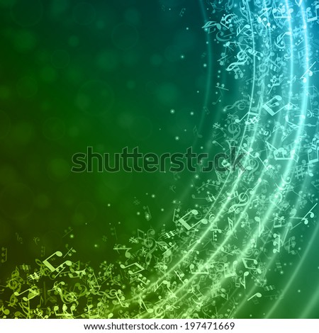 Music notes and light effect vector background - stock vector