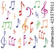Music notes and signs set. Hand drawn music symbol sketch collection - stock vector