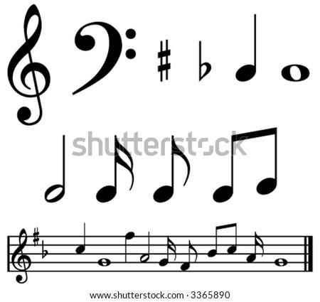 Music Notes Symbols Sample Music Bar Stock Photo Photo Vector