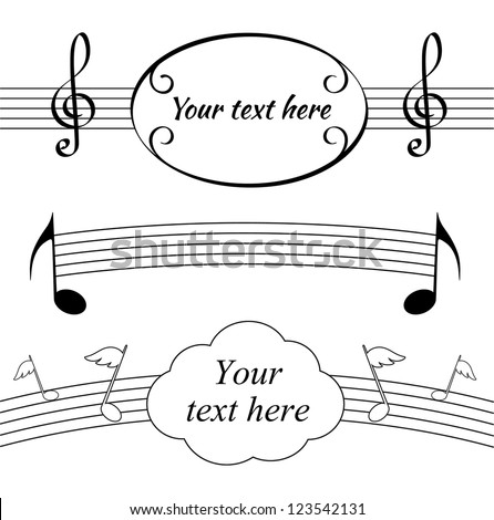 Music notes and treble clefs sheets with blank fields - stock vector