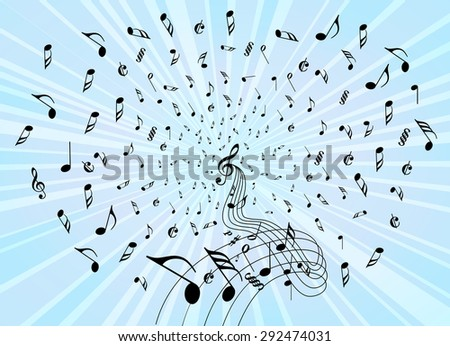 Music Notes Explosion Flow - stock vector