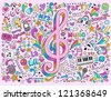 Music Notes G Clef Groovy Doodles Vector Illustration Hand-Drawn Design Elements - stock photo