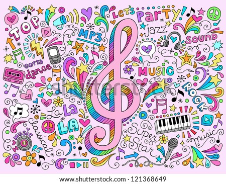 Music Notes G Clef Groovy Doodles Vector Illustration Hand-Drawn Design Elements - stock vector